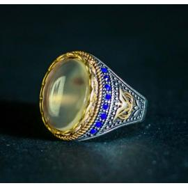 افضل خاتم فضة رجالي بالعقيق يمني